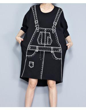 Overall Print T-Shirt Dress